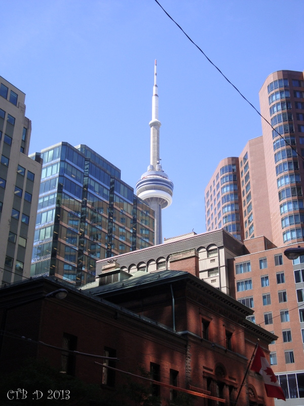 Part of the Toronto skyline... old, new and the CN Tower, which was once the tallest free standing stucture in the world.