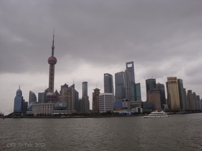 Shanghai Skyline taken along the Bund Feb. 2012