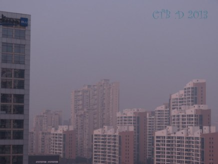 Shanghai Skyline with smog levels in the 200's Dec. 6/13