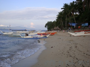 The beach - coral reef almost touches the shore