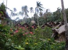 Huts nestled into the Hillside