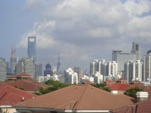 Shanghai Skyline and fluffy clouds