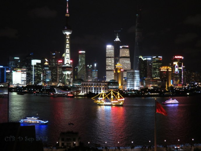 Shanghai Skyline along the Bund at night