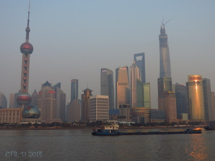 Pudong area with the skyline filled with buildings
