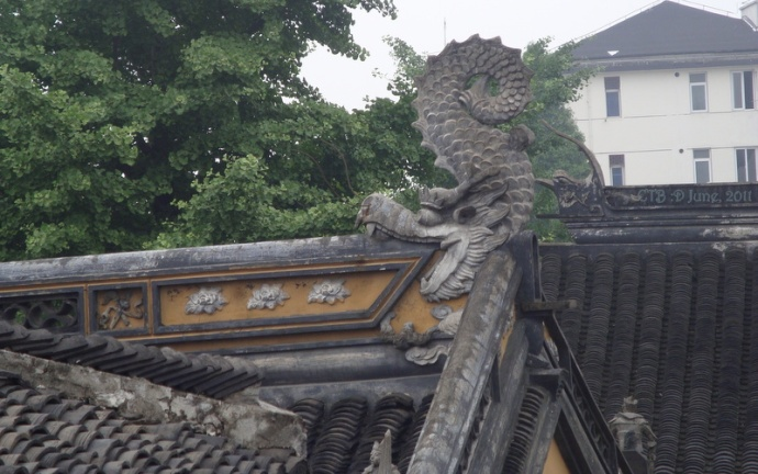 Decorative Dragon On Top of a Roof