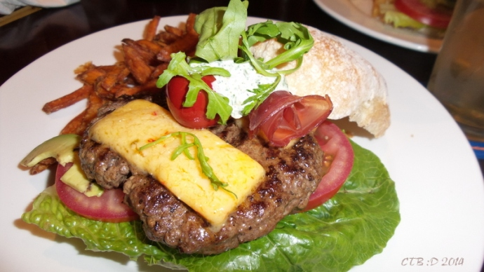 The Gourmet Burger with Sweet Potato Fries