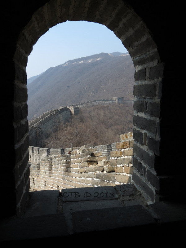 The Great Wall twists and turns along the mountain ridge.