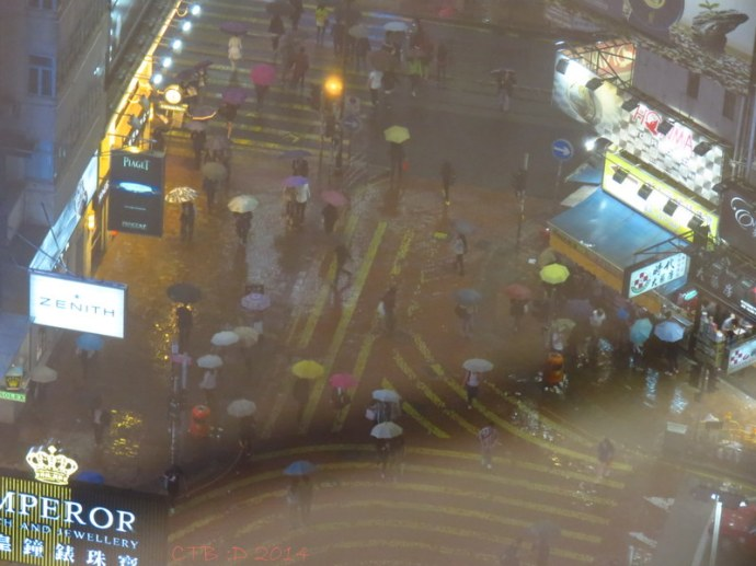 """Heavy rain in Hong Kong. View Looking down onto """"Times Square"""""""