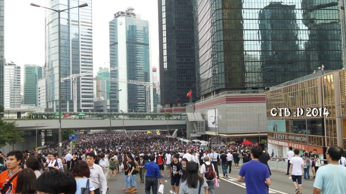The crowd around Admiralty -HK financial district