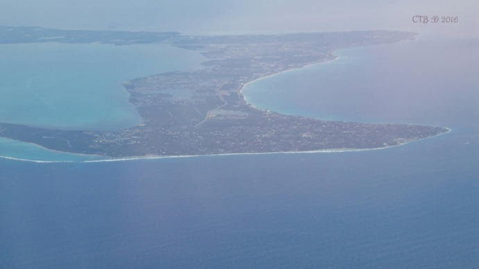 Cayman Islands from above as the plane comes in for a landing